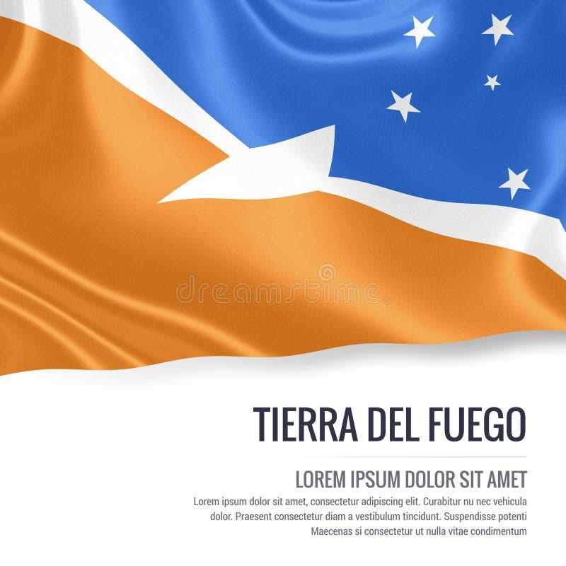 Silkeslen flagga av Tierra Del Fuego som vinkar på en isolerad vit bakgrund med det vita textområdet för ditt annonsmeddelande royaltyfri illustrationer