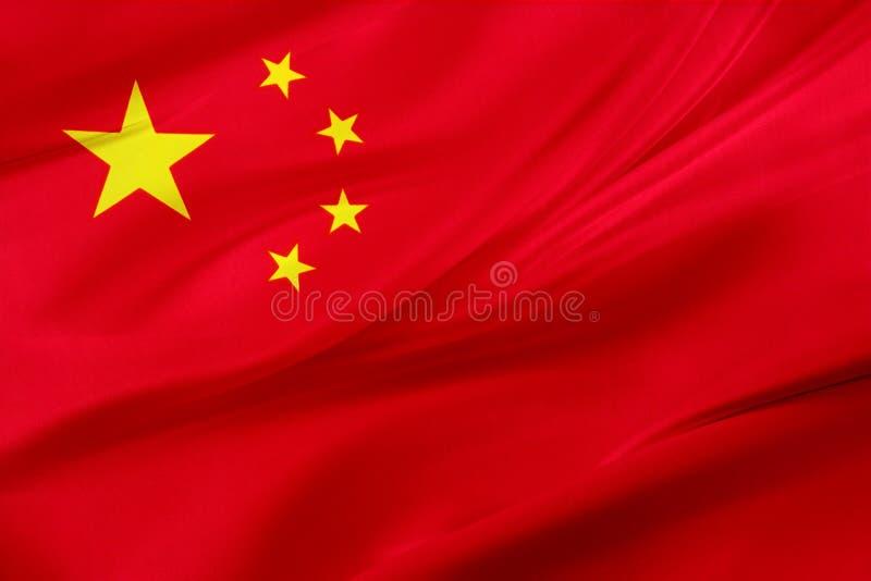 Silkeslen kinesisk flagga royaltyfri illustrationer