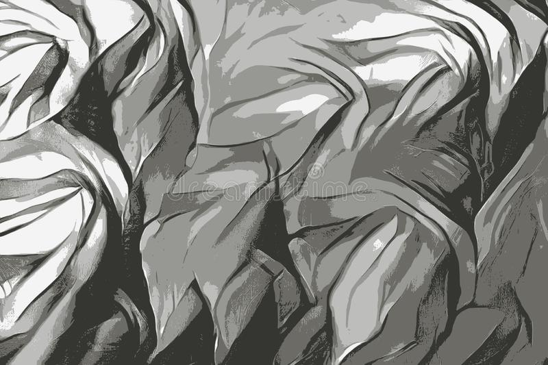 Silkeslen textur av ett flortyg, svartvit illustration royaltyfri illustrationer