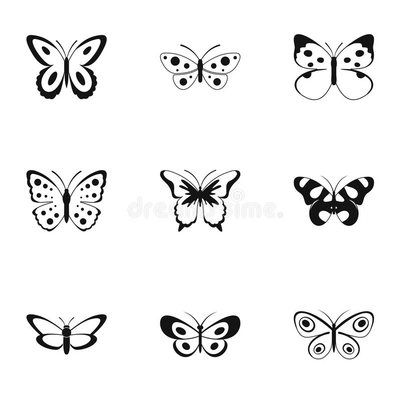 Silkmoth symbolsuppsättning, enkel stil royaltyfri illustrationer