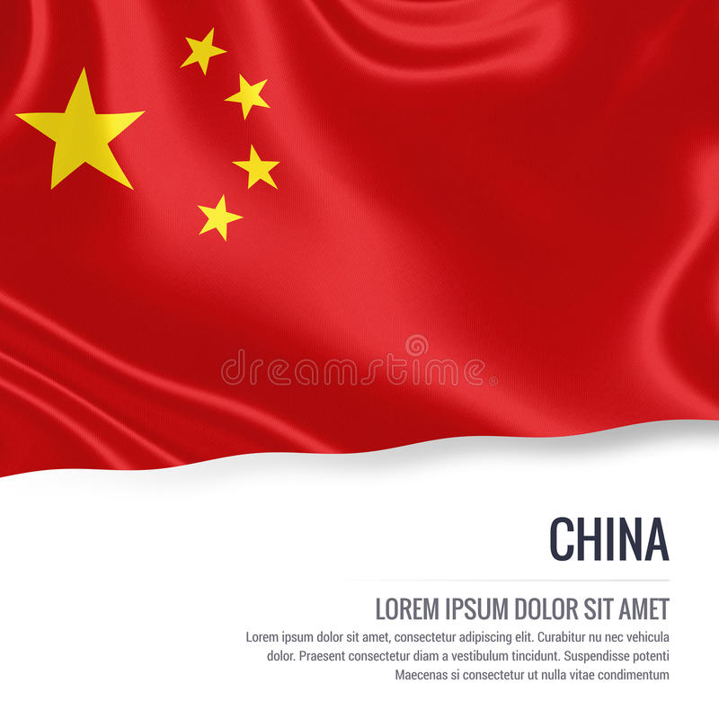 Silky flag of China waving on an isolated white background with the white text area for your advert message. stock illustration