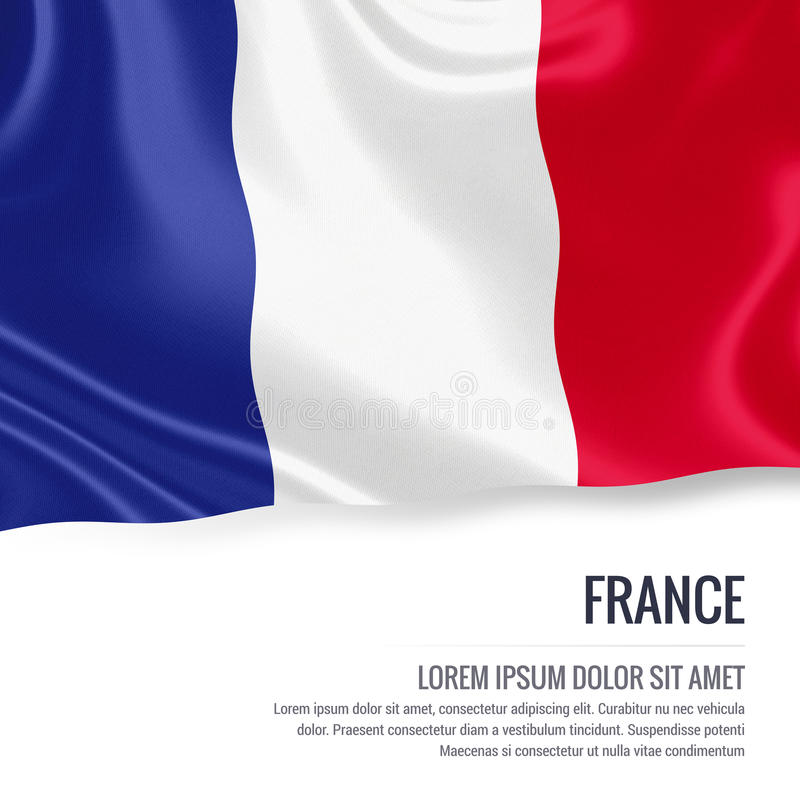 Silky flag of France waving on an isolated white background with the white text area for your advert message. stock illustration