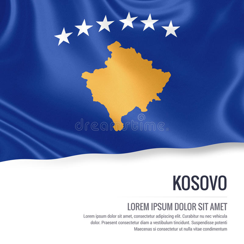 Silky flag of Kosovo waving on an isolated white background with the white text area for your advert message. royalty free illustration