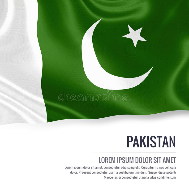 Silky flag of Pakistan waving on an isolated white background with the white text area for your advert message. royalty free illustration