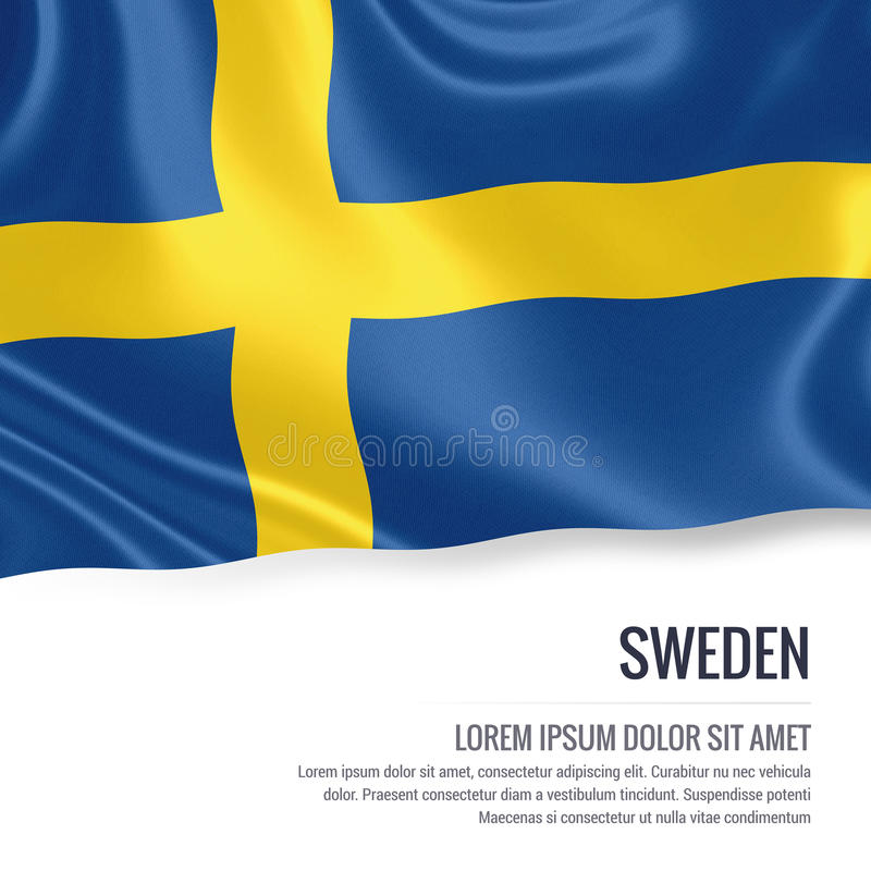 Silky flag of Sweden waving on an isolated white background with the white text area for your advert message. royalty free illustration
