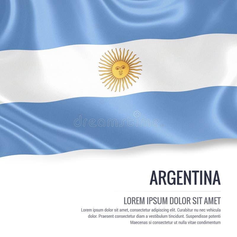 Silky flaga Argentyna falowanie na odosobnionym białym tle z białym teksta terenem dla twój ogłoszenie wiadomości royalty ilustracja