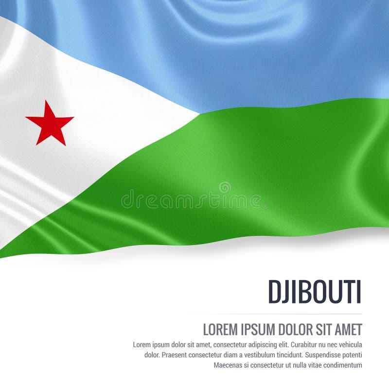 Silky flaga Djibouti falowanie na odosobnionym białym tle z białym teksta terenem dla twój ogłoszenie wiadomości royalty ilustracja