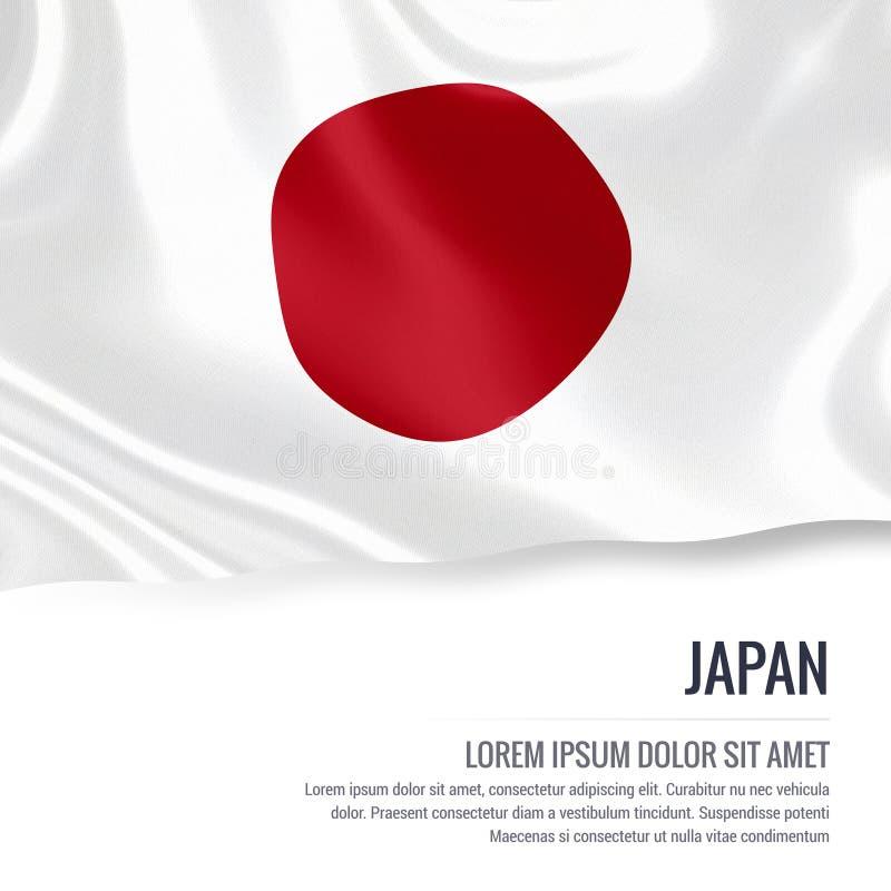 Silky flaga Japonia falowanie na odosobnionym białym tle z białym teksta terenem dla twój ogłoszenie wiadomości royalty ilustracja