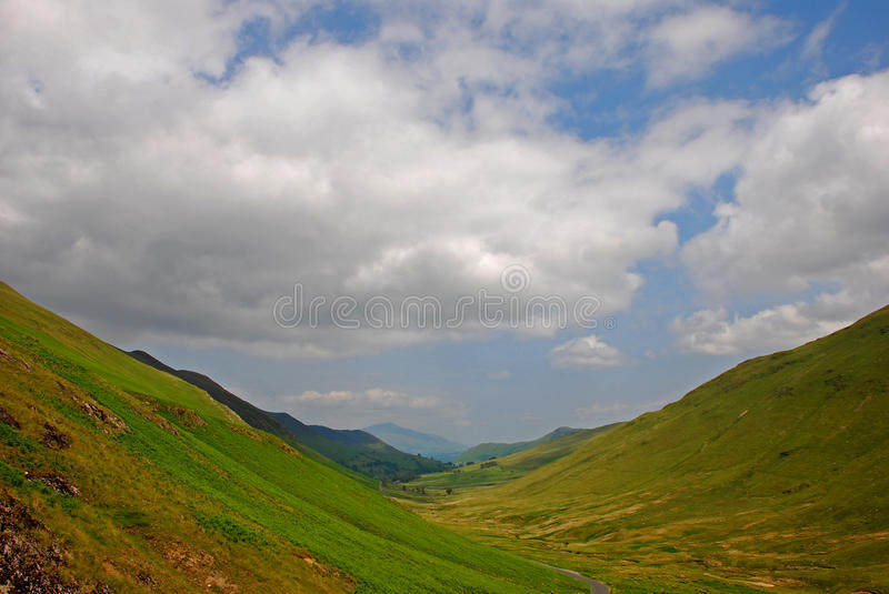 Silky Grassland With Valley In Lake District Royalty Free Stock Photography