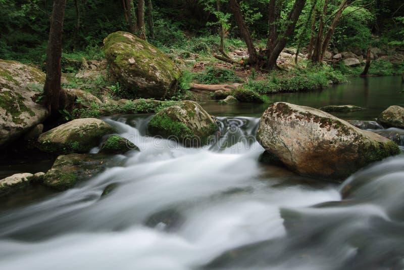 Silky river flow near waterfall known as Santa Margarida. Planes d'Hostoles, Catalonia royalty free stock image