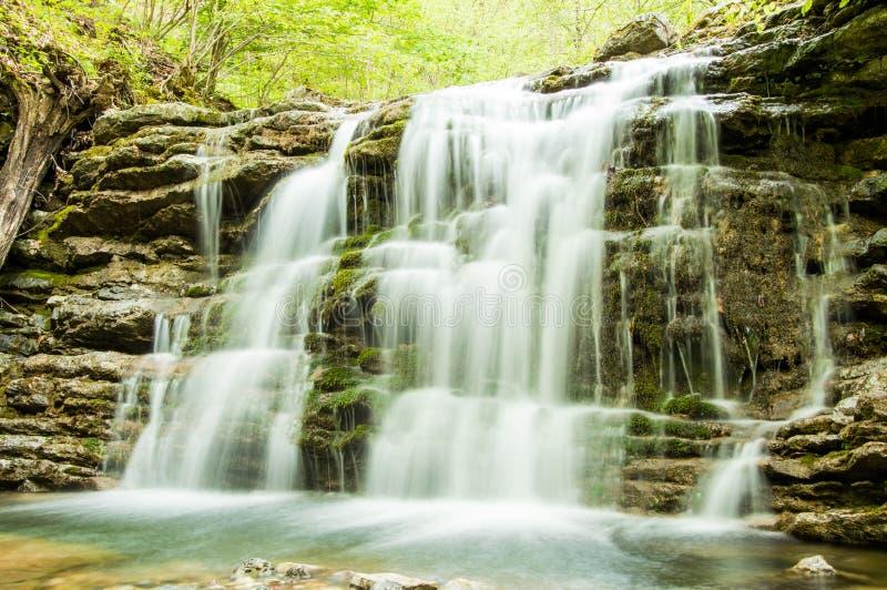 Silky siklawa w lesie zdjęcia royalty free