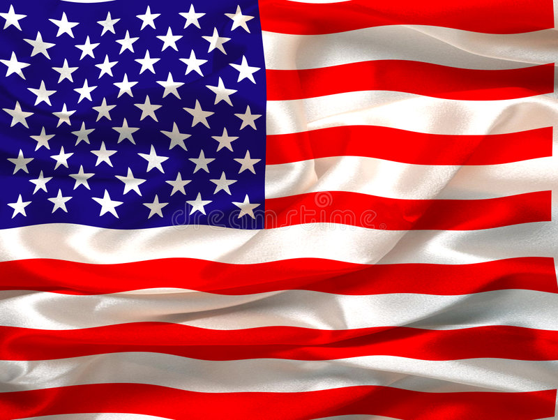 Silky Us flag. Silky flag of United States of America - digital illustration stock illustration
