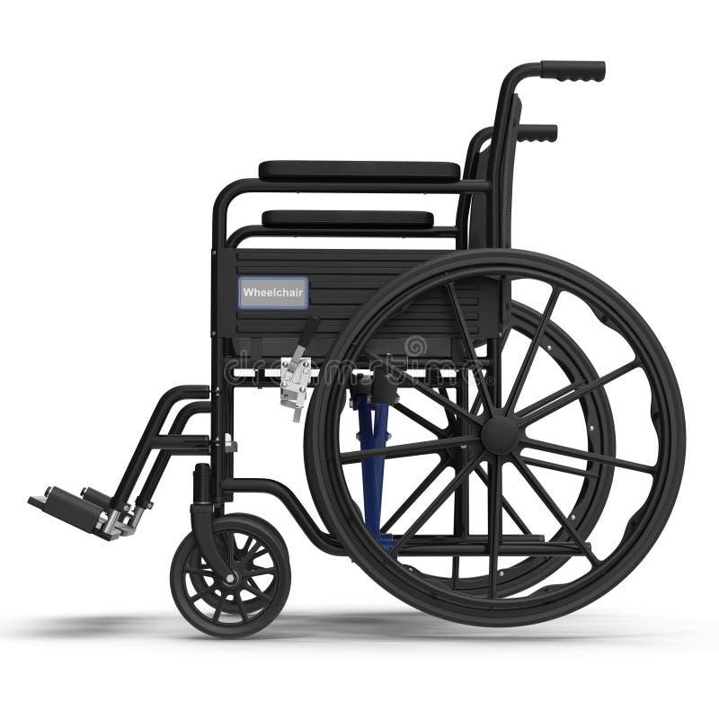 Sillón de ruedas aislado en blanco Vista lateral 3D ejemplo, trayectoria de recortes stock de ilustración