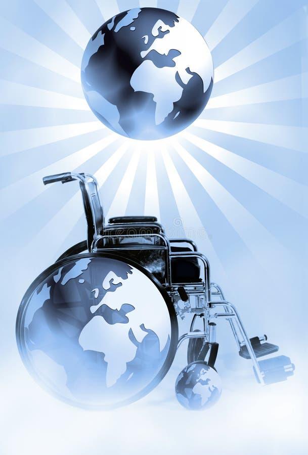 Sillón de ruedas y mundo stock de ilustración