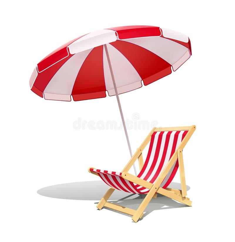 Sillón y sombrilla de la playa para el ejemplo del vector del resto del verano stock de ilustración
