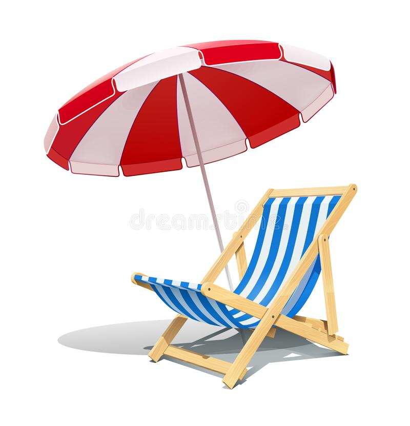 Sillón y sombrilla de la playa para el ejemplo del vector del resto del verano ilustración del vector