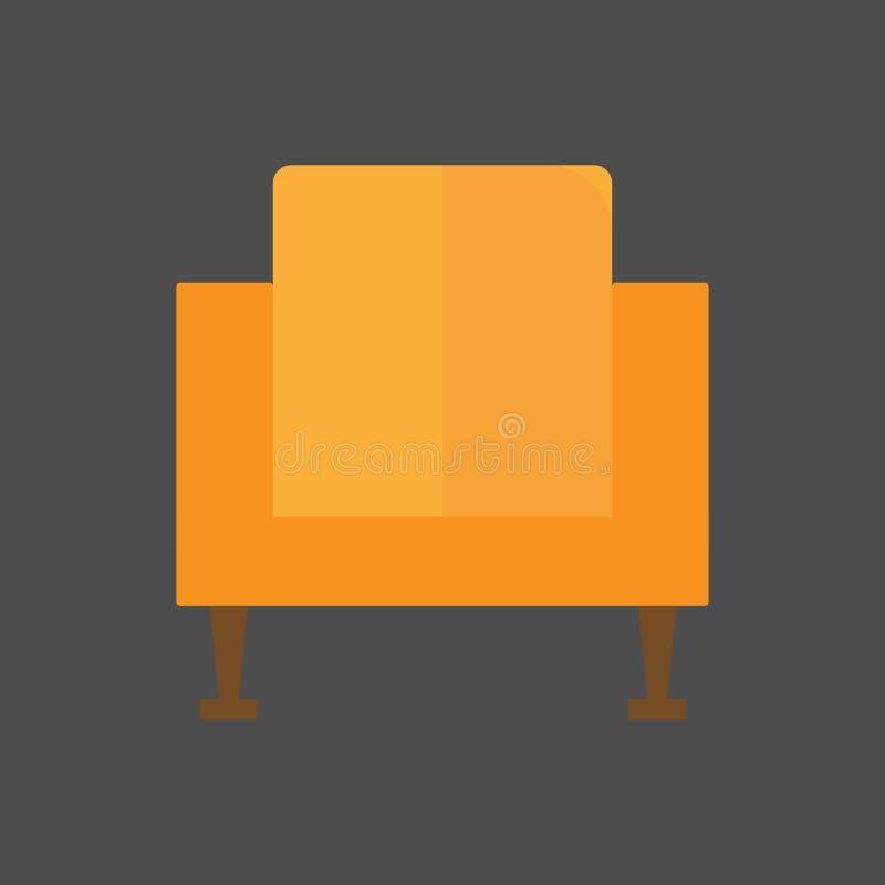 Silla acogedora del vintage en un fondo gris Concepto determinado de los muebles del icono Ilustración del vector libre illustration