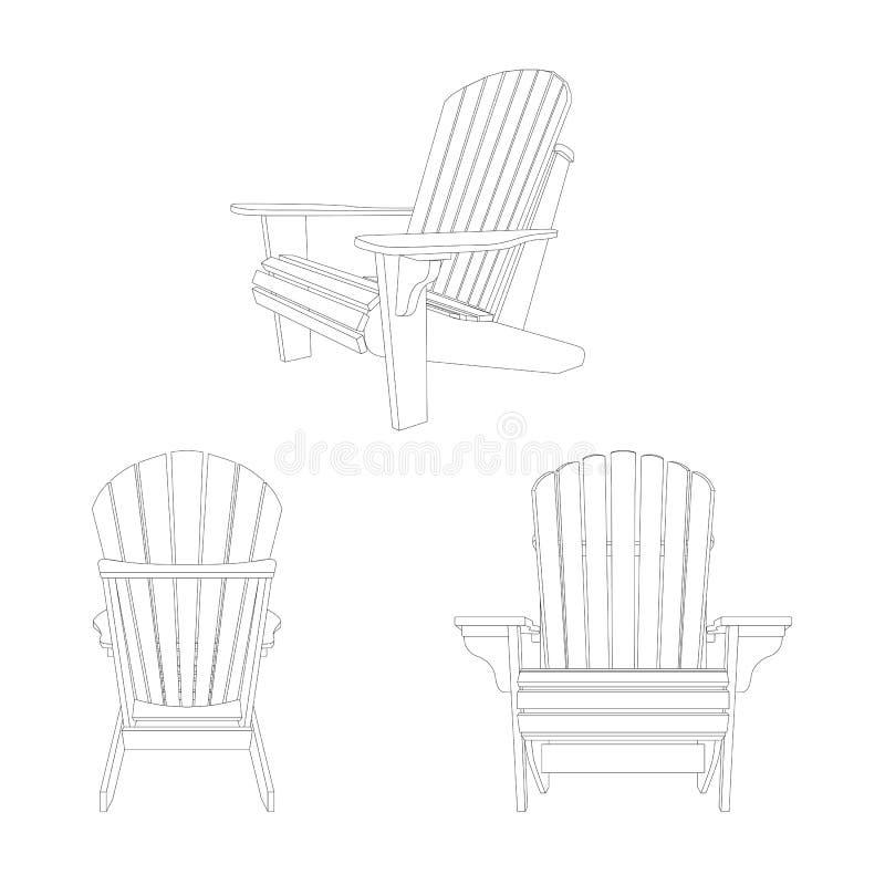 Silla al aire libre de madera clásica, bosquejo del esquema Muebles del jardín fijados en estilo del adirondack stock de ilustración