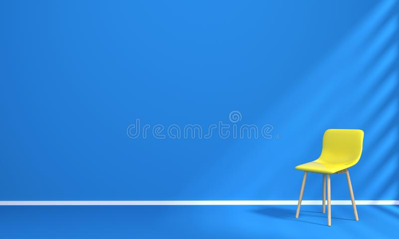 Silla amarilla del sofá en diseño interior del sitio azul stock de ilustración