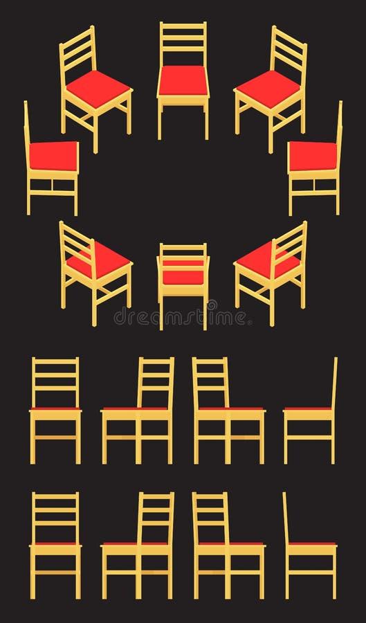 Silla amarilla isométrica libre illustration