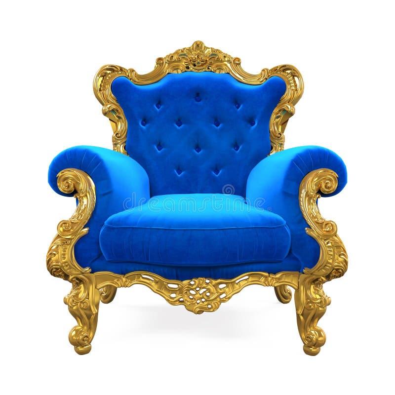 Silla azul del trono aislada ilustración del vector