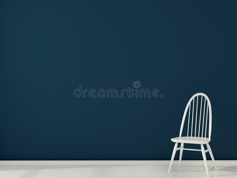 Silla blanca contra una pared azul marino ilustración del vector