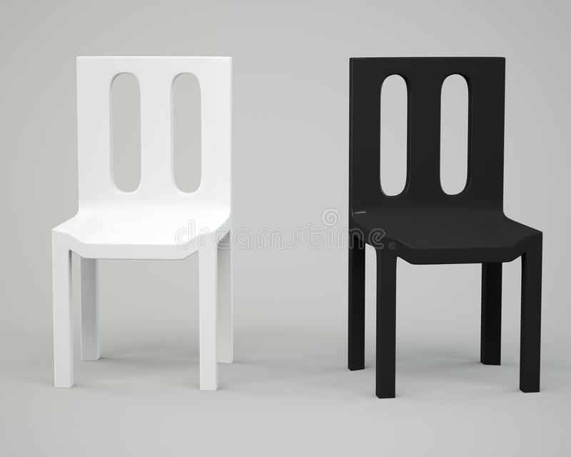 Silla blanca y negra ilustración del vector