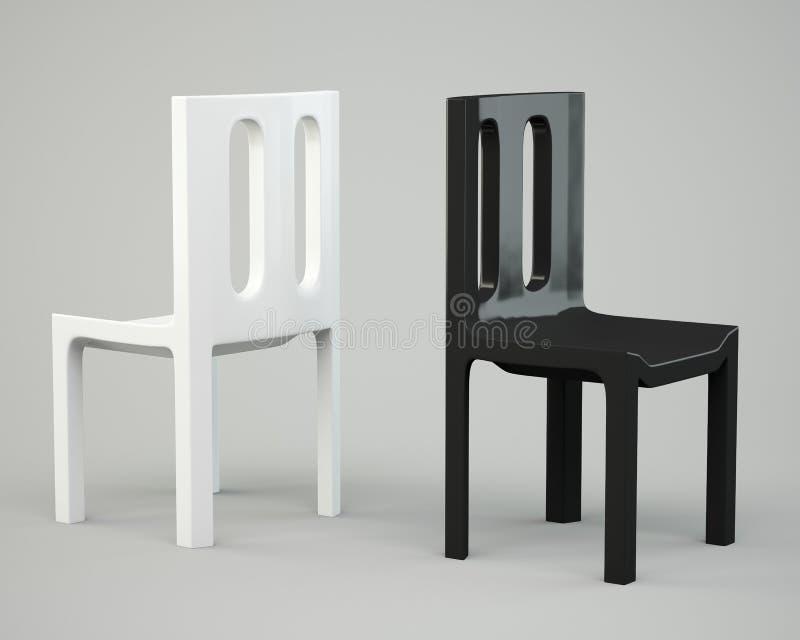 Silla blanca y negra stock de ilustración