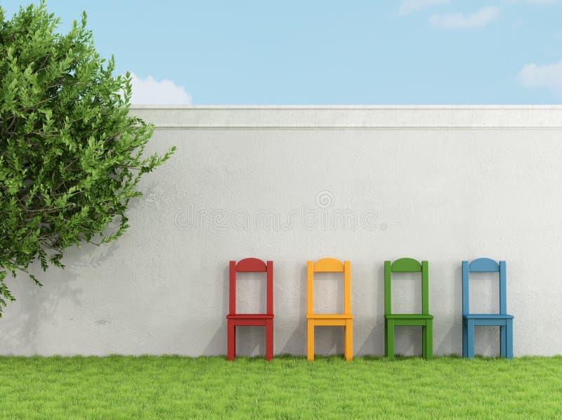 Silla colorida en hierba stock de ilustración