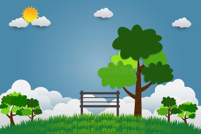 Silla con el árbol en el parque público en un cielo brillante ilustración del vector