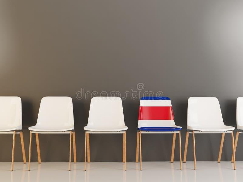 Silla con la bandera de Costa Rica stock de ilustración