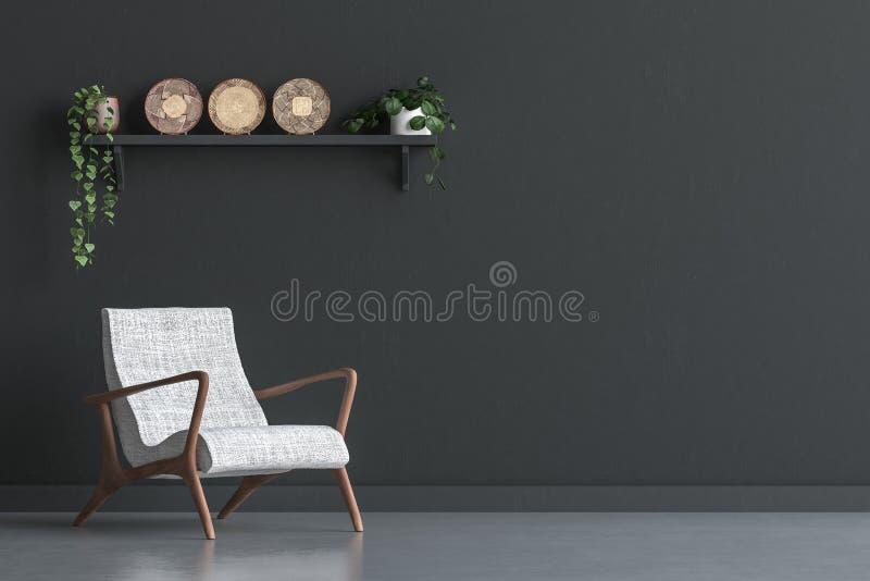 Silla con la decoración de la pared en la sala de estar interior, mofa negra de la pared encima del fondo ilustración del vector