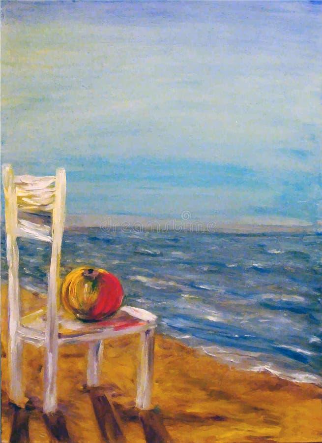 Silla con la manzana en la costa ilustración del vector
