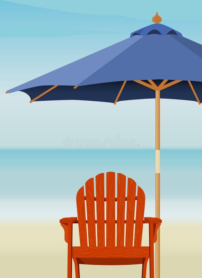 Silla de Adirondack en la playa stock de ilustración