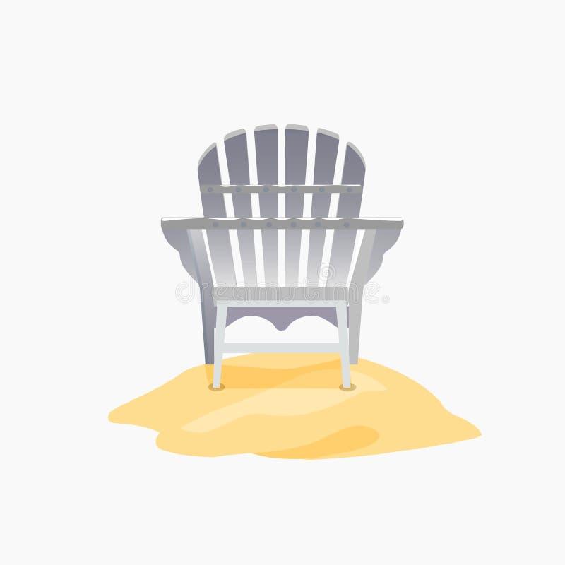 Silla de Adirondack que se coloca en la arena amarilla stock de ilustración