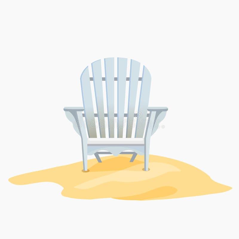 Silla de Adirondack que se coloca en la arena amarilla libre illustration