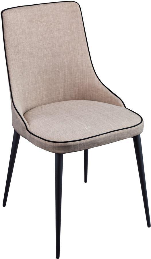 Silla de cena gris del diseñador en las piernas negras del metal Silla suave moderna aislada en el fondo blanco fotografía de archivo libre de regalías