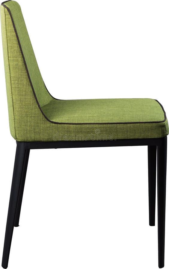 Silla de cena verde del diseñador en las piernas negras del metal Silla suave moderna aislada en el fondo blanco imagen de archivo libre de regalías