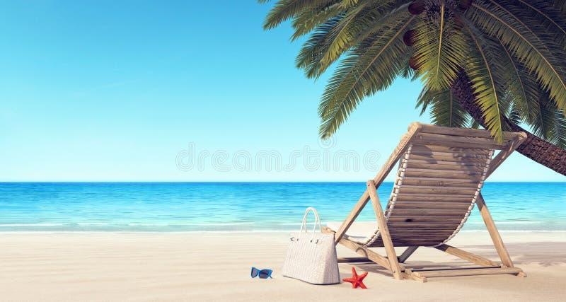 Silla de cubierta en la playa bajo fondo del verano de la palmera fotos de archivo libres de regalías