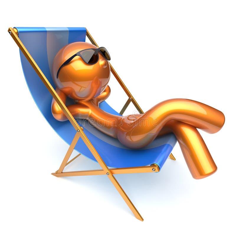 Silla de cubierta de refrigeración de la playa del personaje de dibujos animados relajante del hombre stock de ilustración
