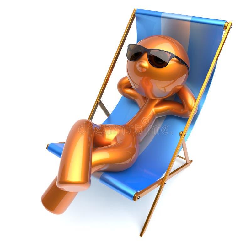 Silla de cubierta de refrigeración de relajación de la playa del carácter estilizado del hombre stock de ilustración
