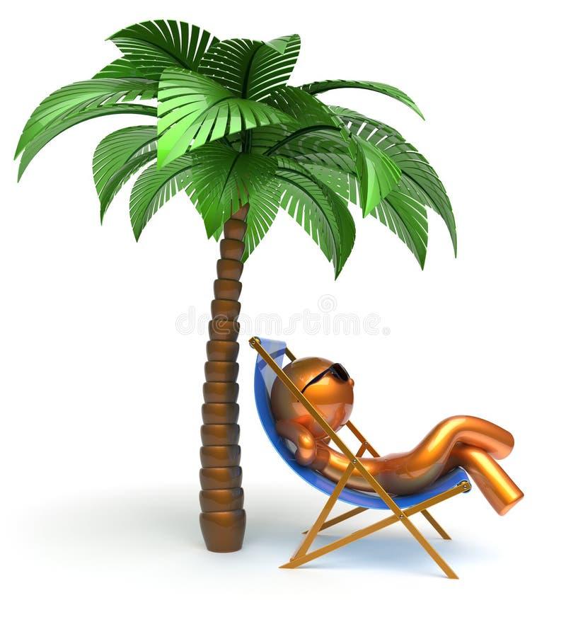 Silla de cubierta de refrigeración de relajación de la playa de la palmera del carácter del hombre stock de ilustración