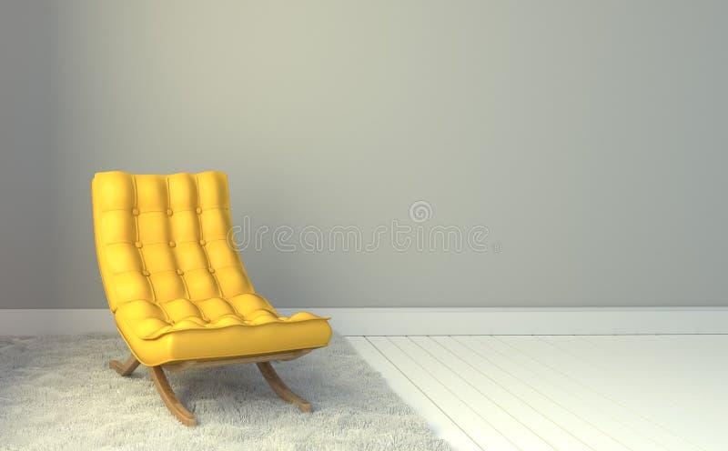 Silla de cuero amarilla - interior del sitio en el fondo blanco de la pared representaci?n 3d ilustración del vector