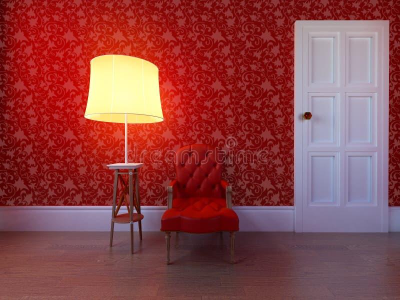 Silla de cuero antigua contra una pared roja fotos de archivo