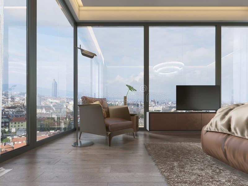 Silla de cuero moderna con una tabla lateral redonda en una ventana grande con una lámpara de pie libre illustration