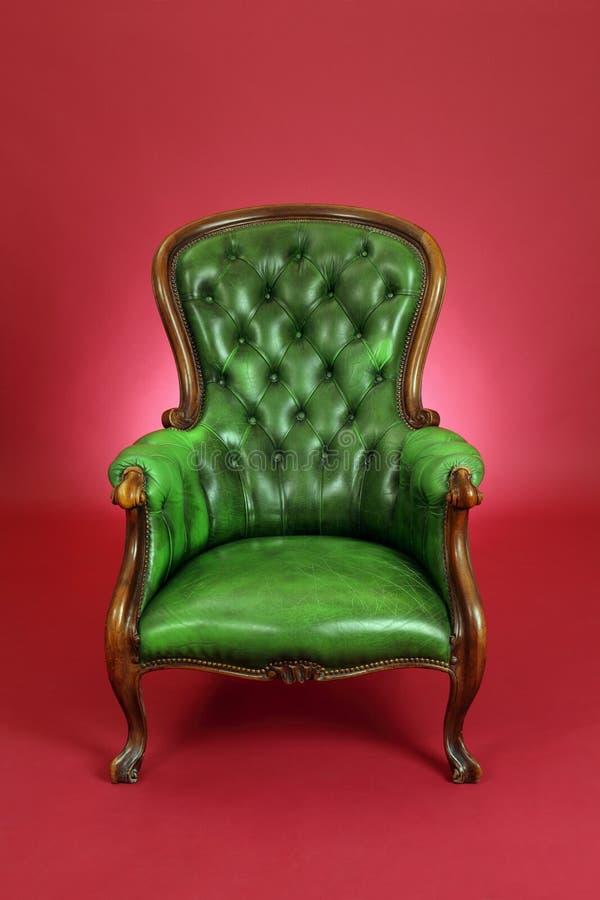 Silla de cuero verde foto de archivo