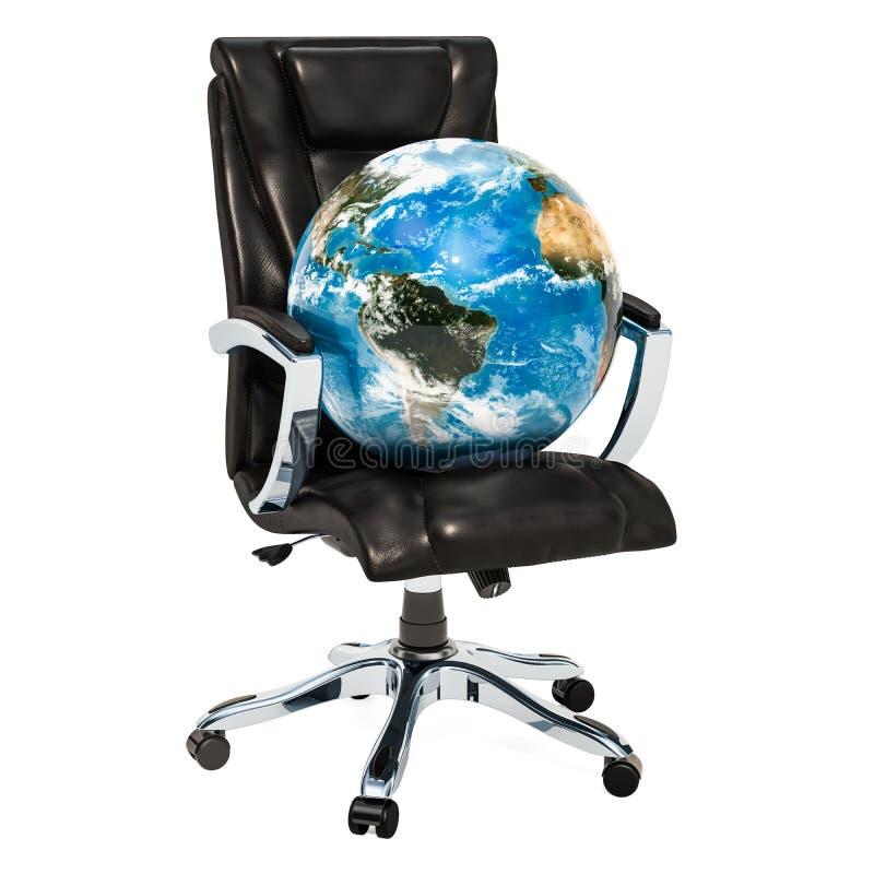 Silla de la oficina con el concepto del globo de la tierra, representación 3D ilustración del vector