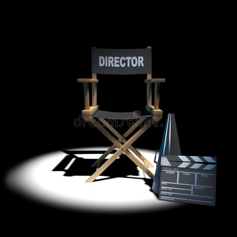 silla de los directores 3d en el proyector libre illustration