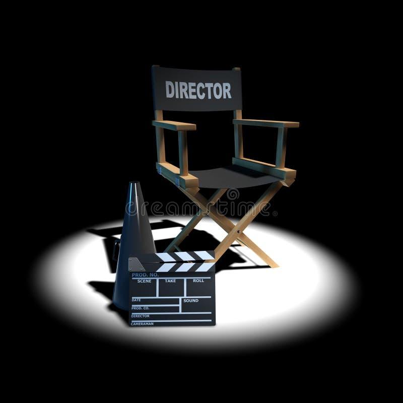 silla de los directores 3d en proyector ilustración del vector