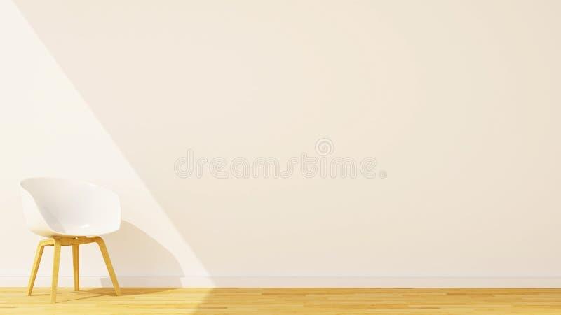 Silla de madera en estudio o sala de estar y espacio para las ilustraciones - 3D stock de ilustración